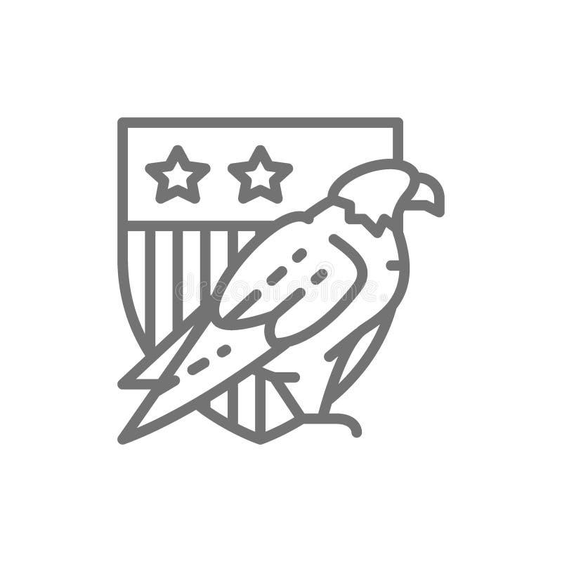 Eagle com protetor dos EUA, brasão da linha ícone de América ilustração royalty free