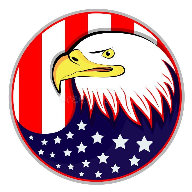 Eagle con la bandera americana stock de ilustración