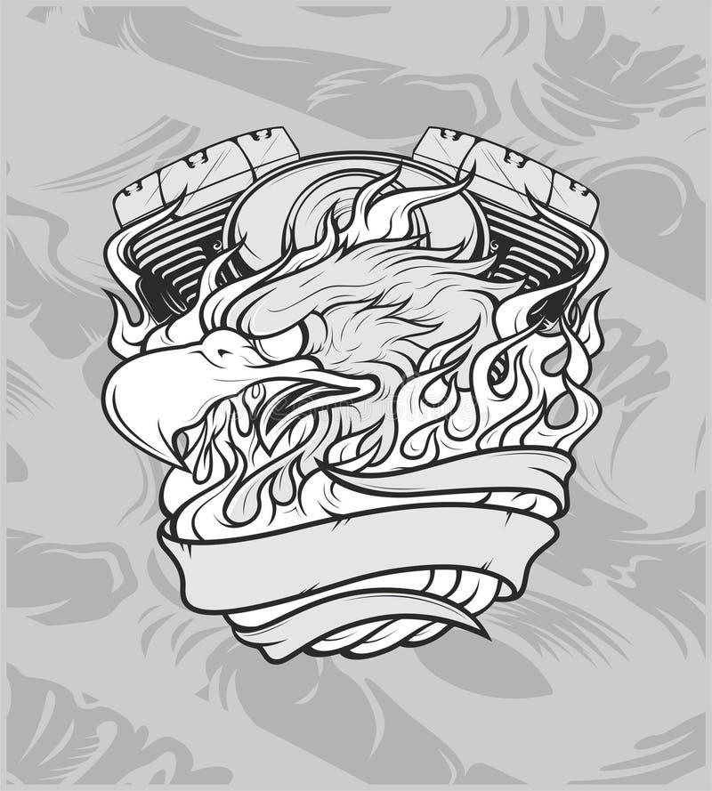Eagle con la máquina dibujo de la mano, diseños de la camisa, motorista, disk jockey, caballero, peluquero y muchos otros Aislado libre illustration