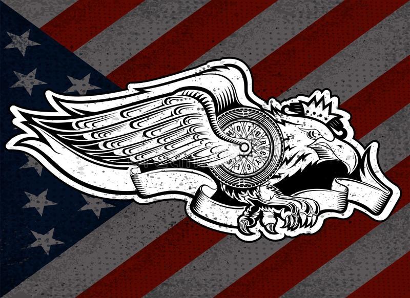 Eagle con la rueda de la moto con las alas y la cinta en fondo de la bandera de las barras y estrellas Diseño de la motocicleta d libre illustration