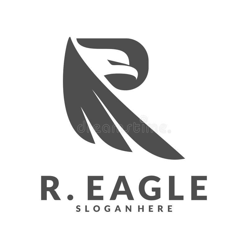 Eagle con R inicial Logo Vector ilustración del vector