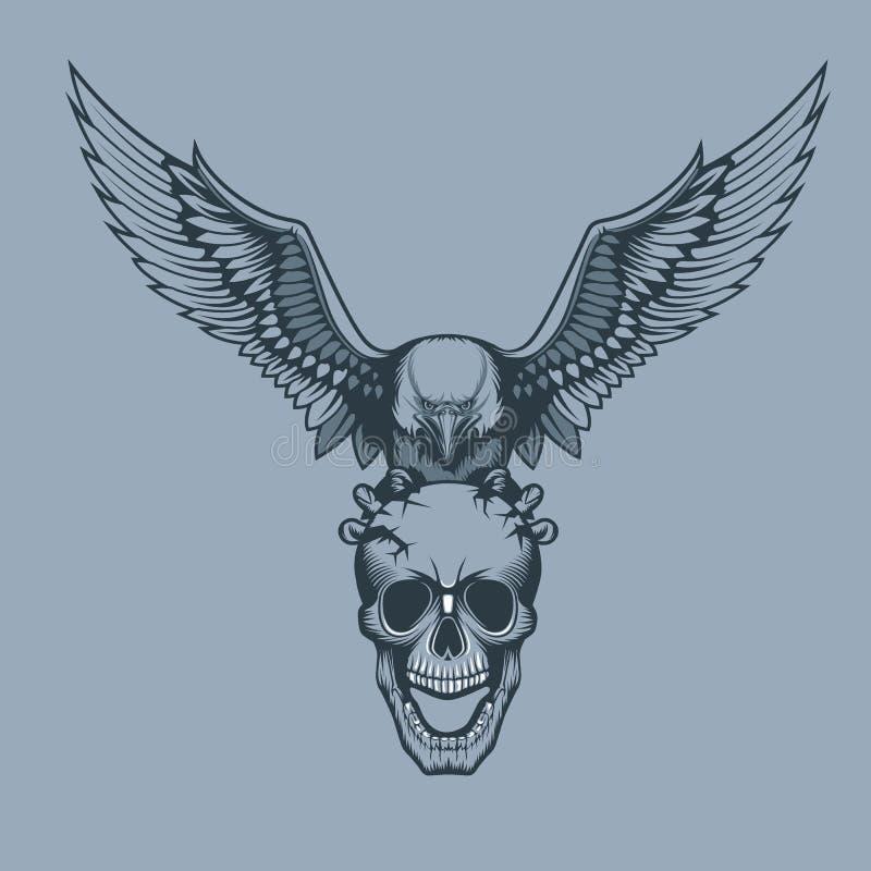 Eagle con un cráneo en estilo del tatuaje de las garras stock de ilustración
