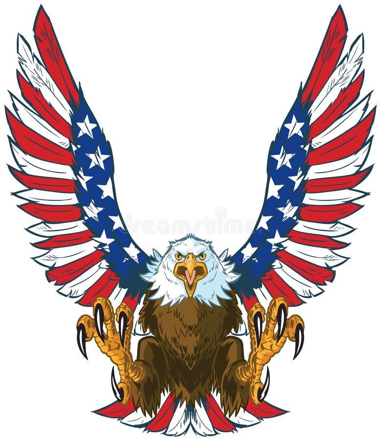 Eagle de griterío con la bandera americana se va volando el clip art del vector libre illustration
