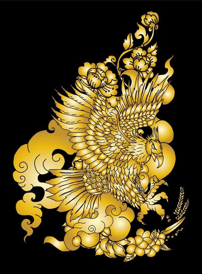 Eagle die tatoegering vliegen Traditionele Japanse adelaar met Thaise bloem op wolkentatoegering vector illustratie