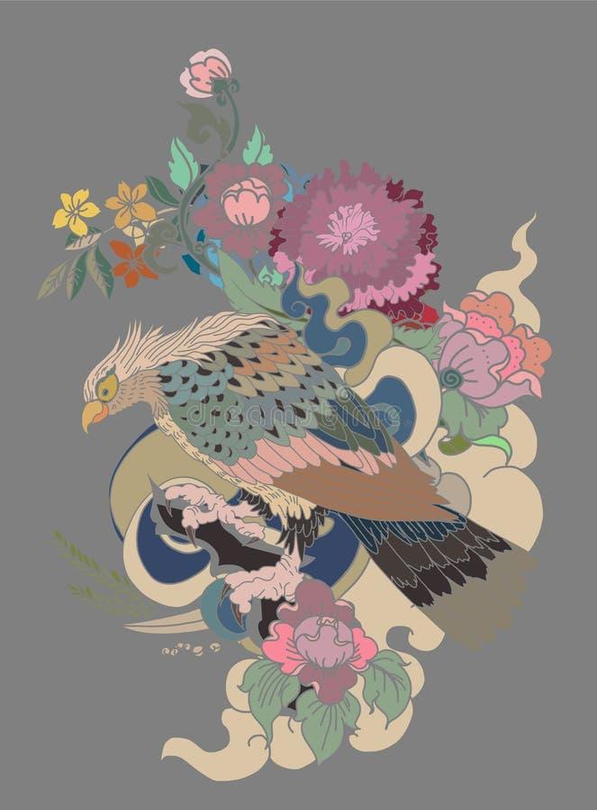 Eagle die tatoegering vliegen Traditionele Japanse adelaar met Thaise bloem op wolkentatoegering royalty-vrije illustratie