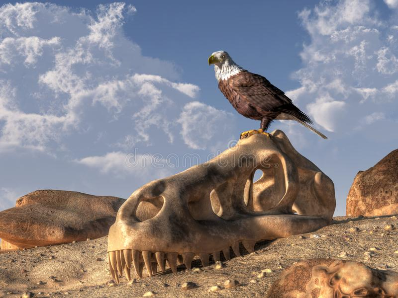 Eagle and Dinosaur Skull. A bald eagle perches atop the skull of a tyrannosaurus on a barren rocky hillside. The powerful hunter of the skies seems to look a bit vector illustration