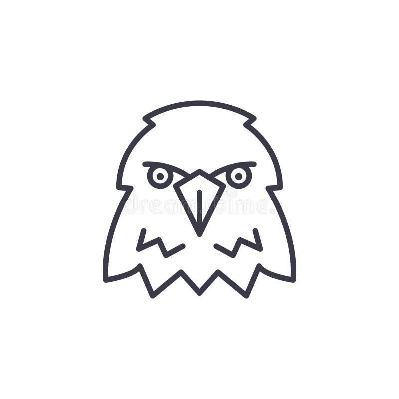Eagle dirige a linha ícone do vetor, sinal, ilustração no fundo, cursos editáveis ilustração royalty free