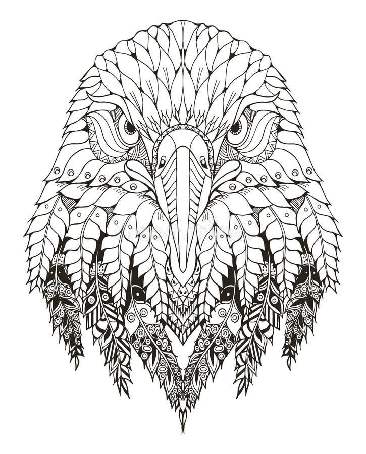 Eagle dirige lo zentangle stilizzato, vettore, illustrazione, a mano libera royalty illustrazione gratis
