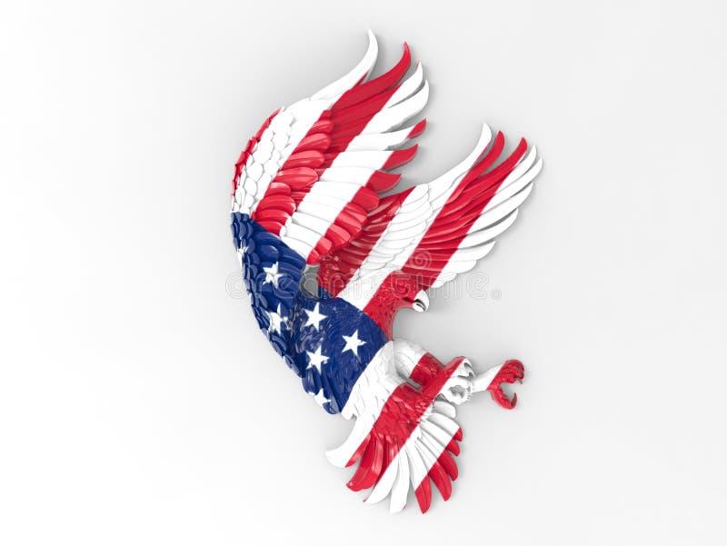 Eagle a donné une consistance rugueuse avec le drapeau des Etats-Unis illustration libre de droits