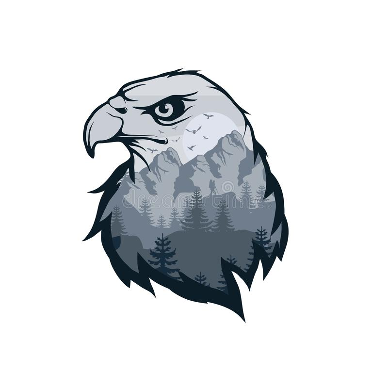 Eagle double exposure. Wildlife for your design, outdoors symbol eagle double exposure. Vector graphics to design vector illustration