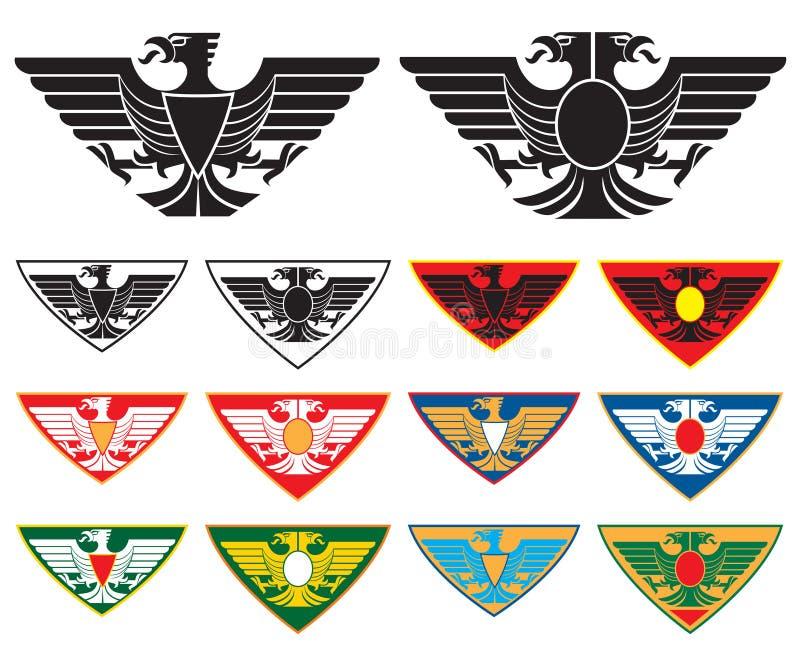 Eagle and double headed Eagle. Symbol in few variations. Vector illustration vector illustration