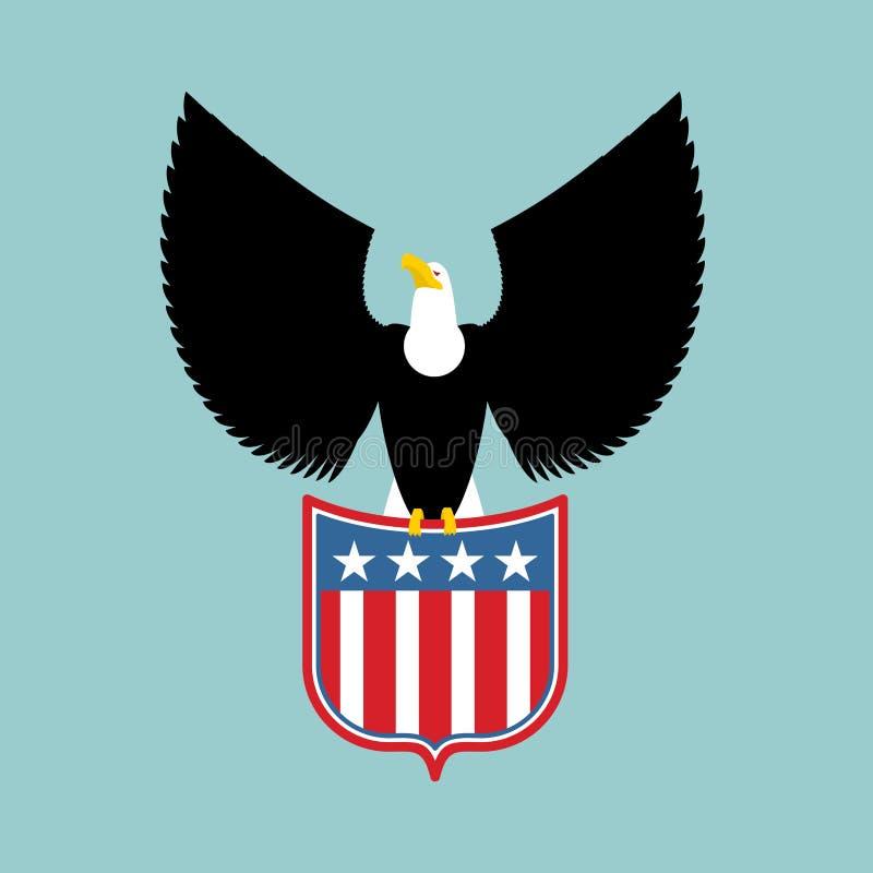 Eagle e brasão dos EUA Símbolo nacional americano pássaros ilustração royalty free