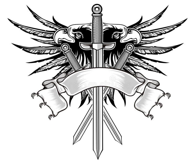 Eagle e espada ilustração do vetor