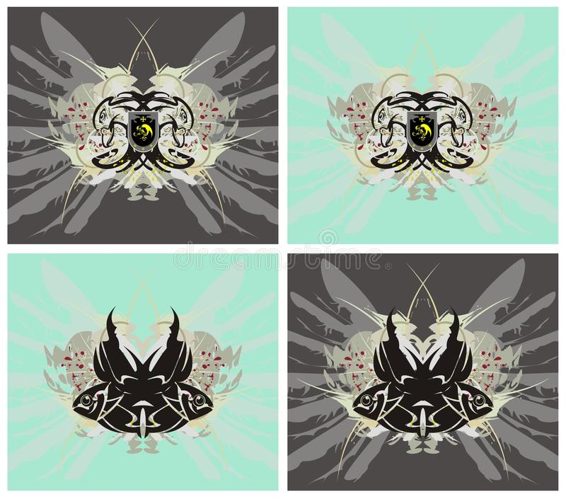Eagle e símbolos dos peixes ilustração stock