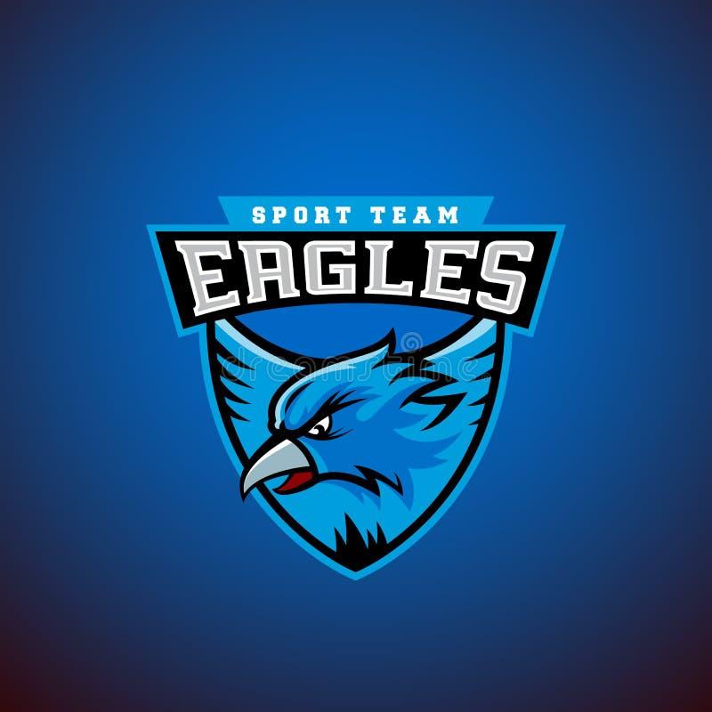 Eagle in einem Schild Abstrakte Vektor-Sport-Emblem-Schablone Liga oder Team Logo Hochschulmannschafts-Zeichen lizenzfreie abbildung