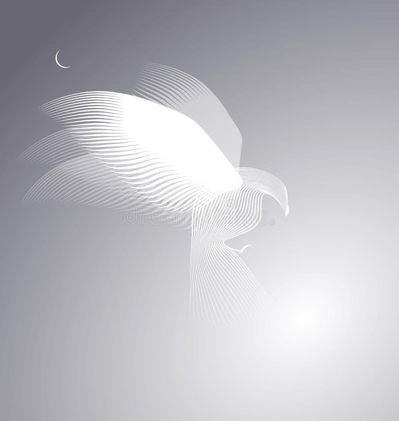 Eagle em um céu enevoado sob a lua ilustração royalty free