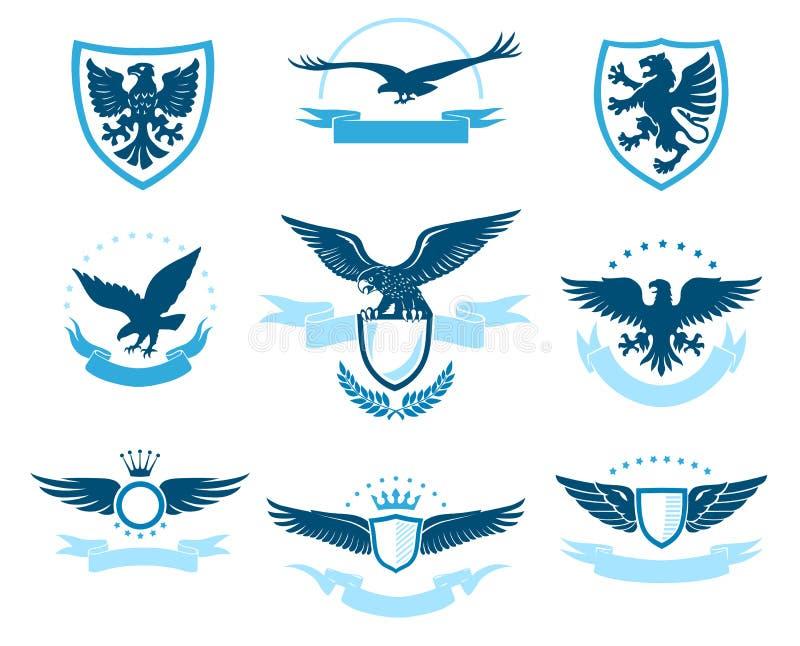 Eagle Emblem Set op een Witte Achtergrond royalty-vrije illustratie