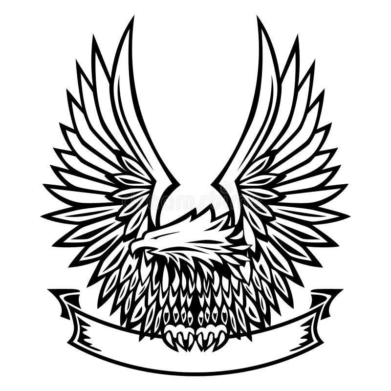 Eagle emblemat, skrzydła Rozprzestrzeniający, Trzyma sztandar ilustracji