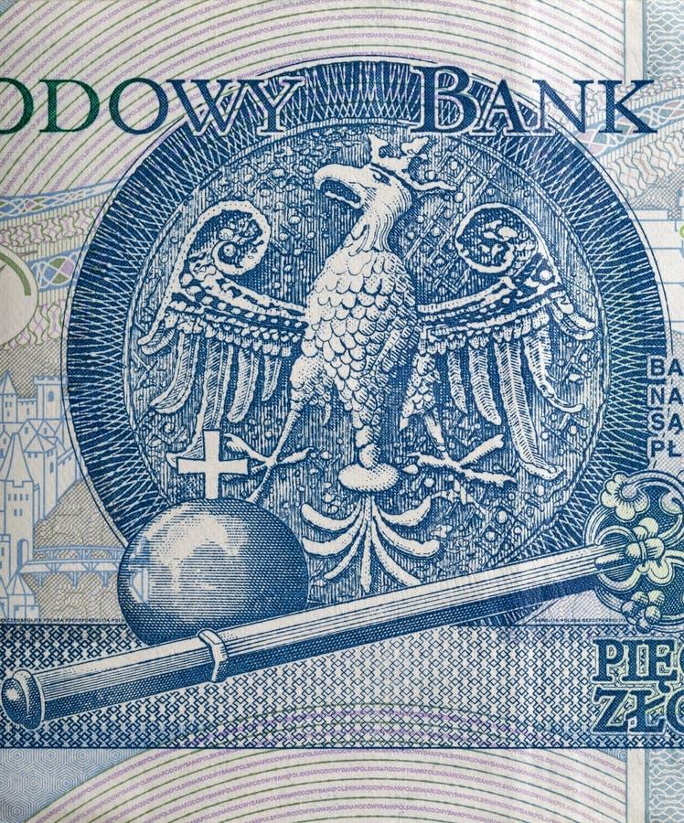 Eagle emblemet av Polen visade på zlotysedelmakro fotografering för bildbyråer