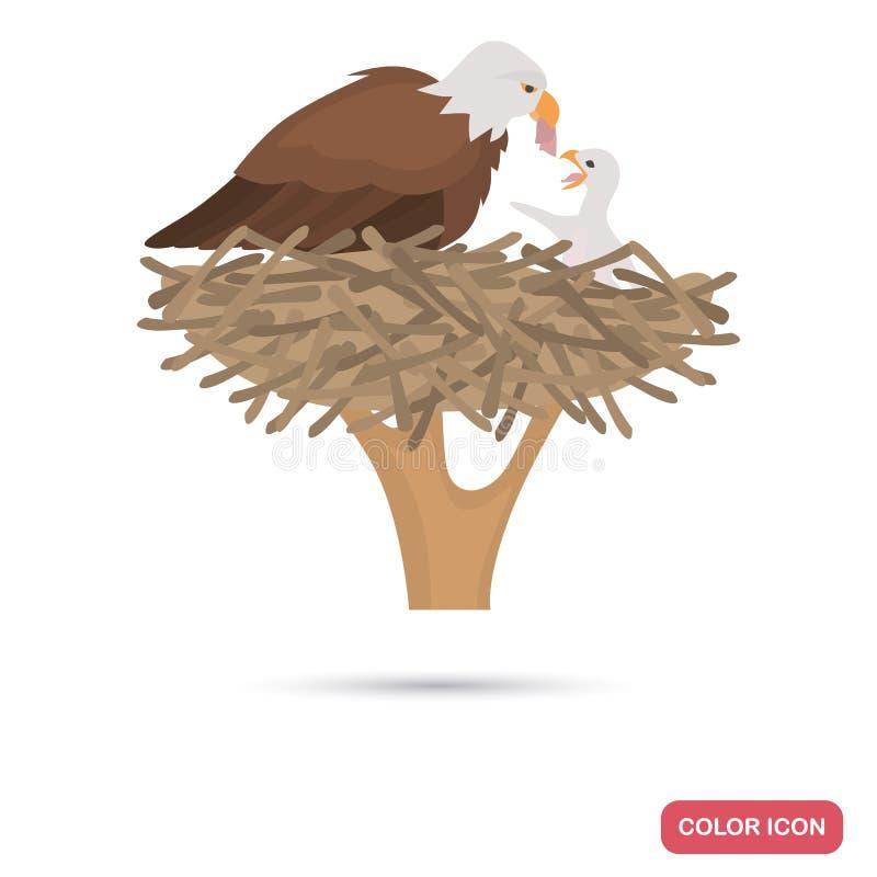 Eagle en kuiken in het vlakke pictogram van de nestkleur royalty-vrije illustratie