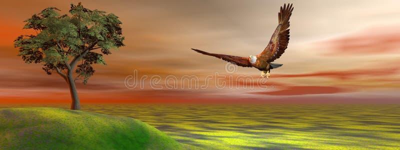 Eagle et colline et arbre illustration de vecteur
