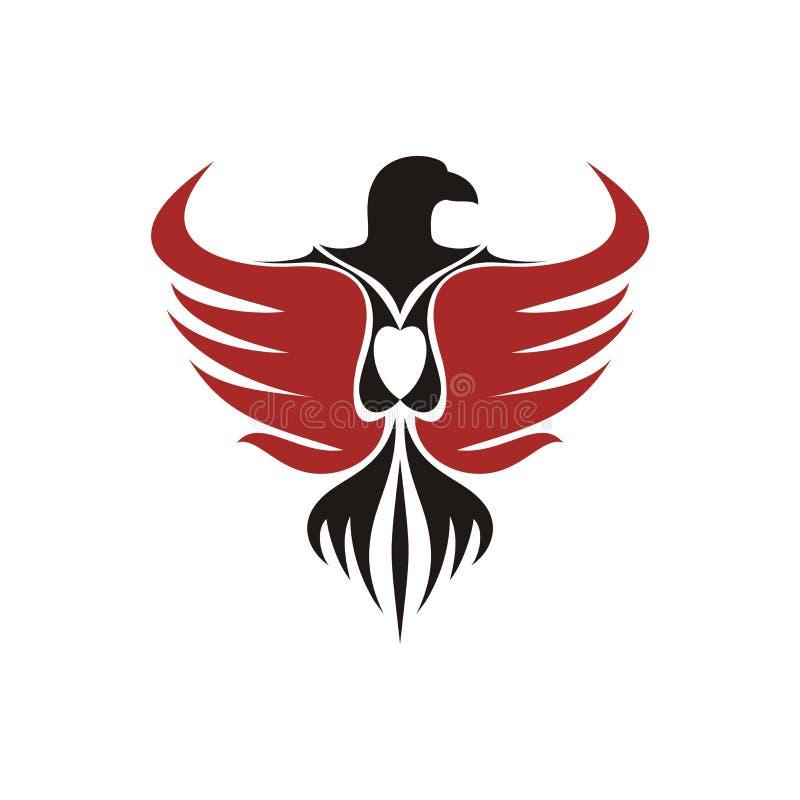 Eagle - fågellogotyp med vingar vektor illustrationer