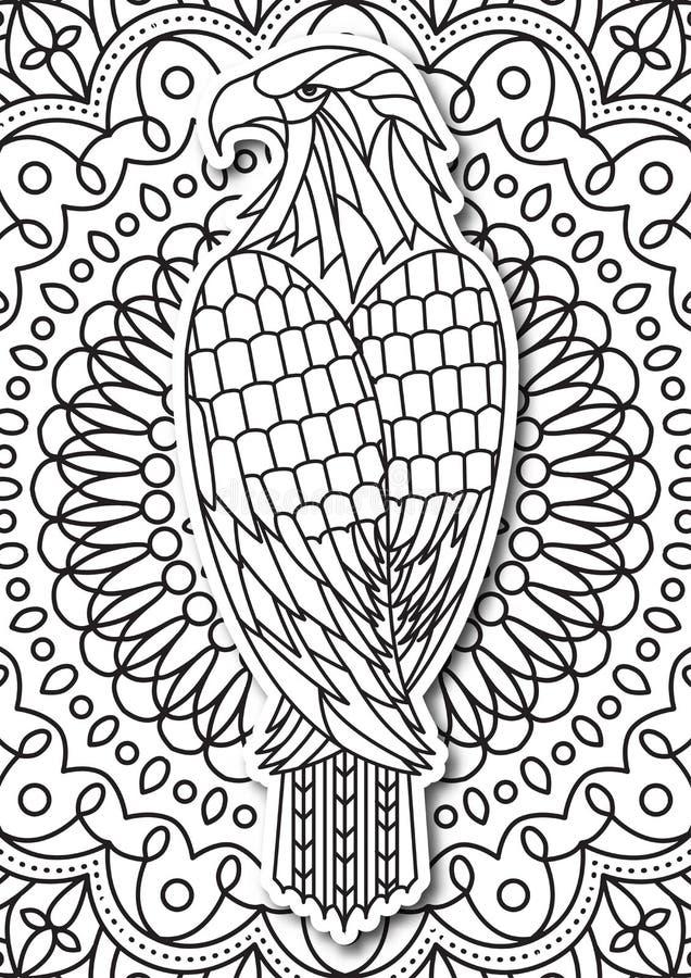 Eagle - Farbtonseite für Erwachsene in der ethnischen Art Gezeichnete einfarbige Skizze des Vektors Hand vektor abbildung