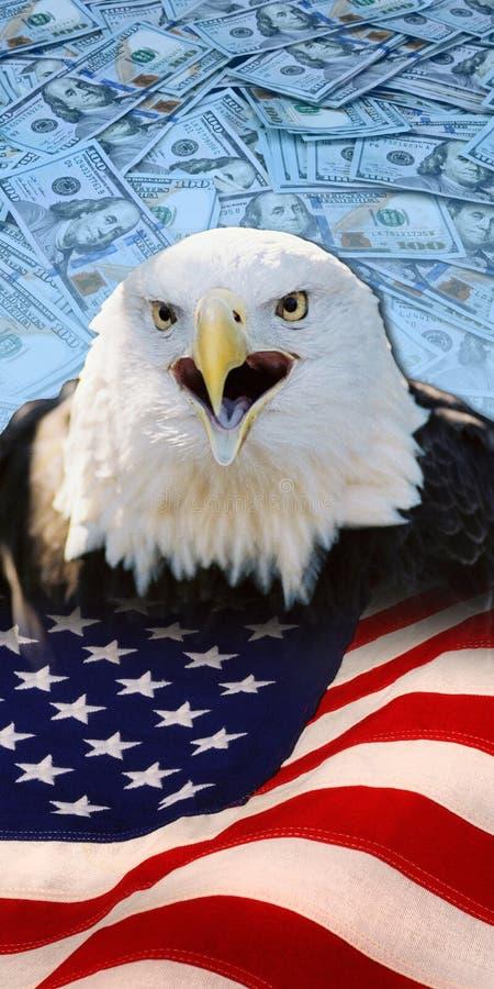 Eagle, flaga i pieniądze, zdjęcia royalty free