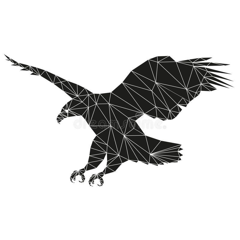 Eagle. Flies. Abstract silhouette of triangles stock illustration