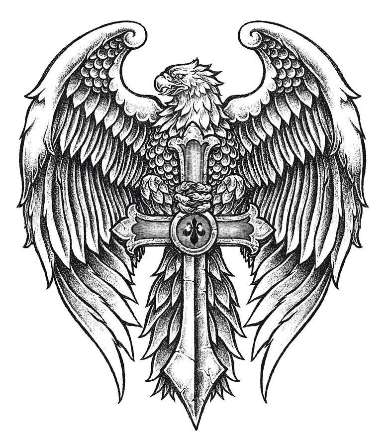 Eagle fortement détaillé avec l'épée illustration stock
