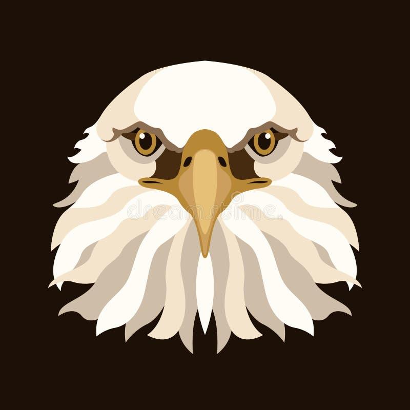 Eagle głowy twarzy ilustraci stylu wektorowy mieszkanie ilustracji