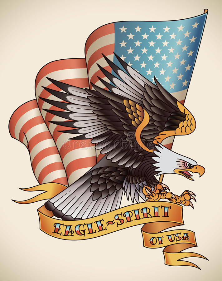 Eagle-geest oud-schooltatoegering vector illustratie
