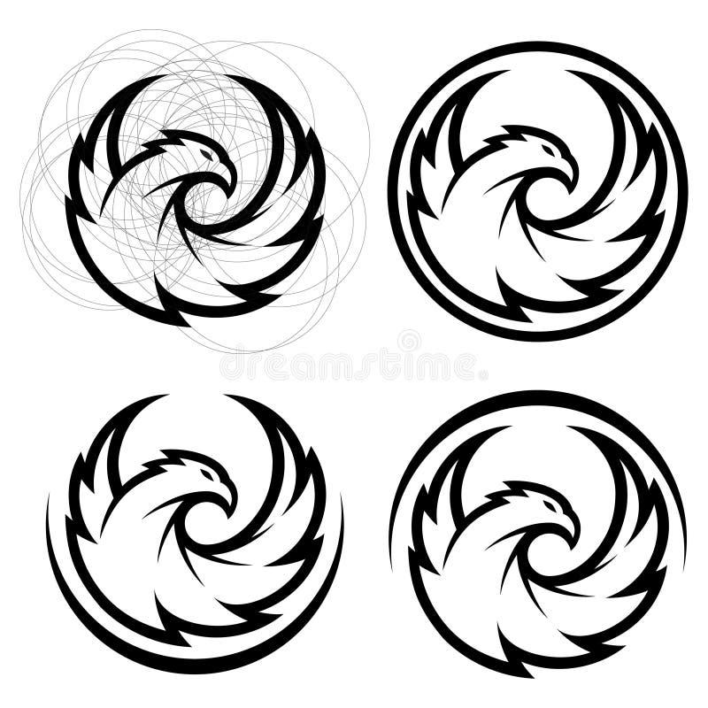 Eagle gehen Logo Schablone, Falkemaskottchengraphik, Porträt eines Weißkopfseeadlers voran, lizenzfreie abbildung