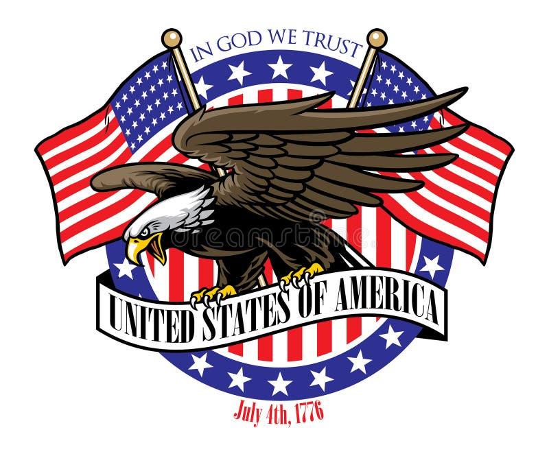 Eagle-greep het het lintteken van de V.S. met de vlag als achtergrond royalty-vrije illustratie