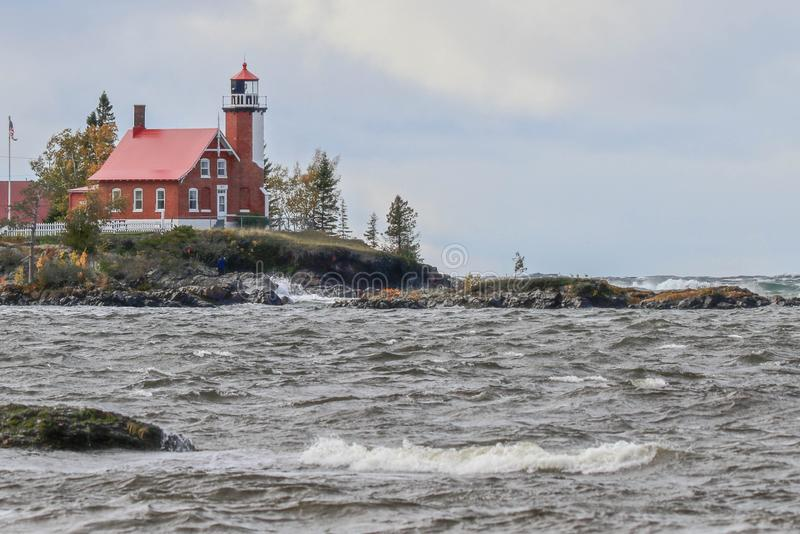 Eagle Harbor Lighthouse in Upper Peninsula of Michigan in Autumn stock images