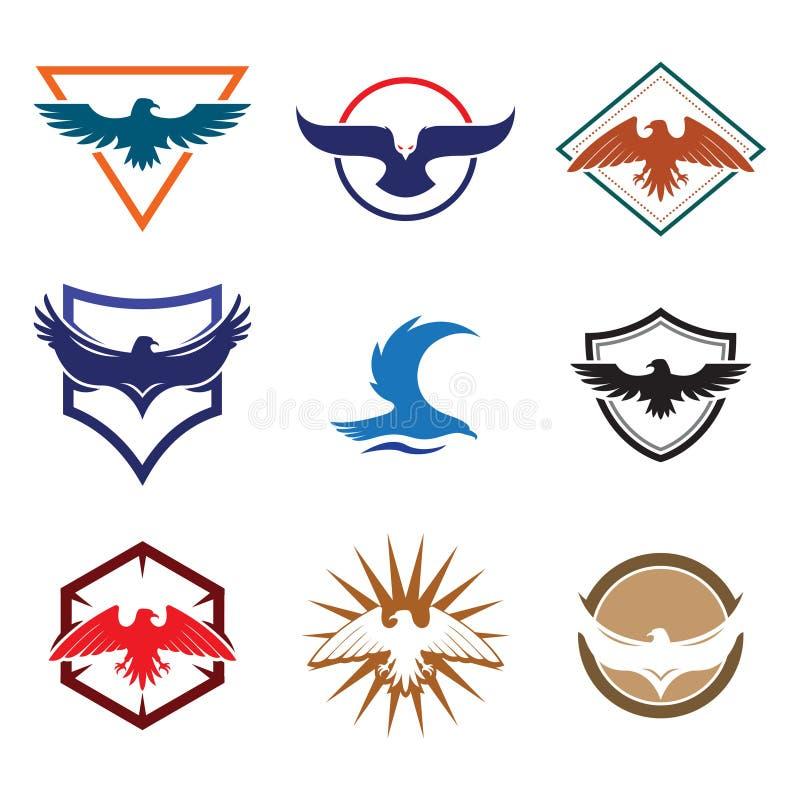 Eagle Hawk Falcon Bird com protetor Logo Collection ilustração stock