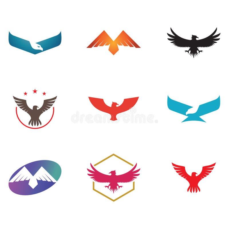 Eagle Hawk Falcon Bird Simple Abstract Logo Collection stock de ilustración
