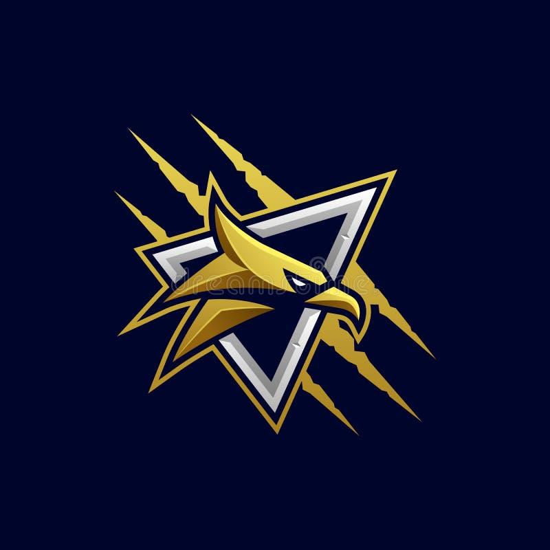Eagle Head Aggressive Vector Template royalty free illustration