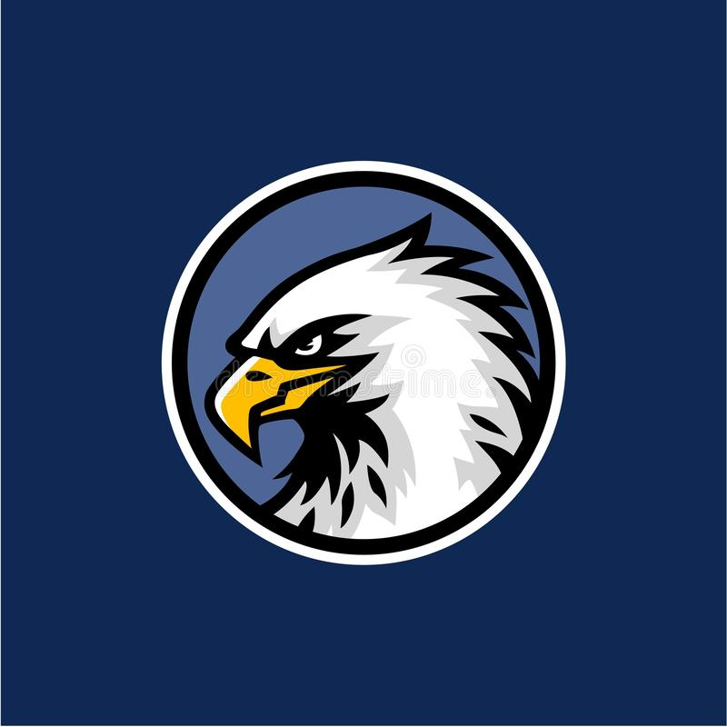 Eagle Head with Blue Background Logo Vector Design, Sign, Icon, Illustration royalty free illustration