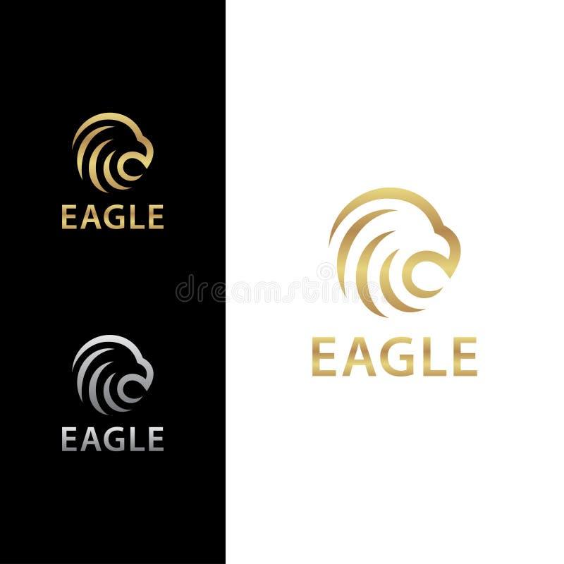 Eagle Head Bold Logo Concept med guld- färg royaltyfri illustrationer