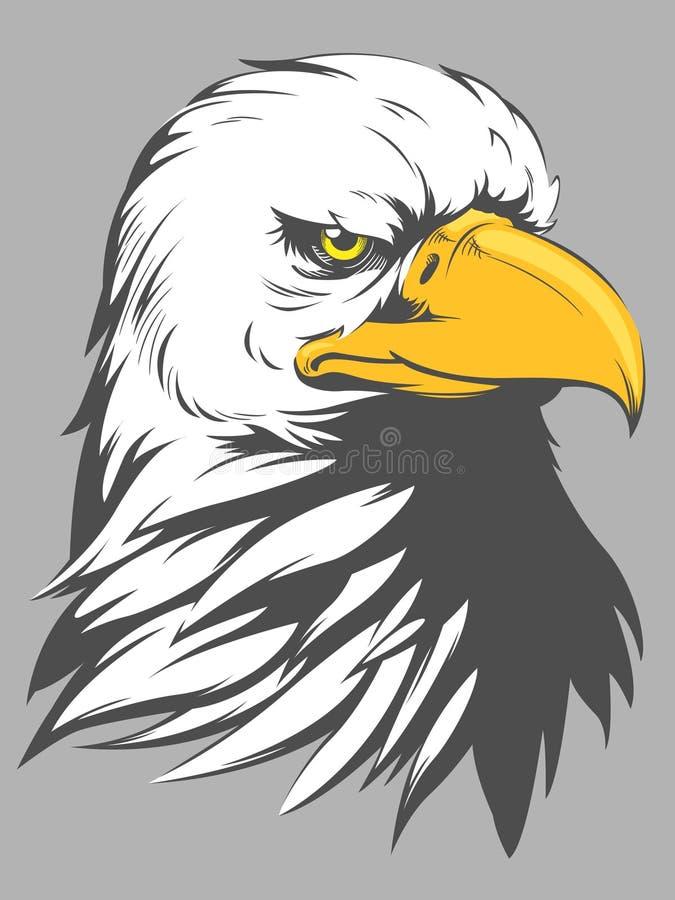 Eagle Head Cartoon calvo ilustração do vetor