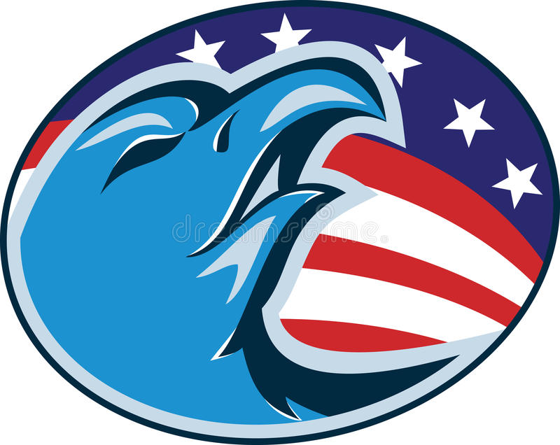 Eagle Head Flag Retro chauve américain illustration de vecteur