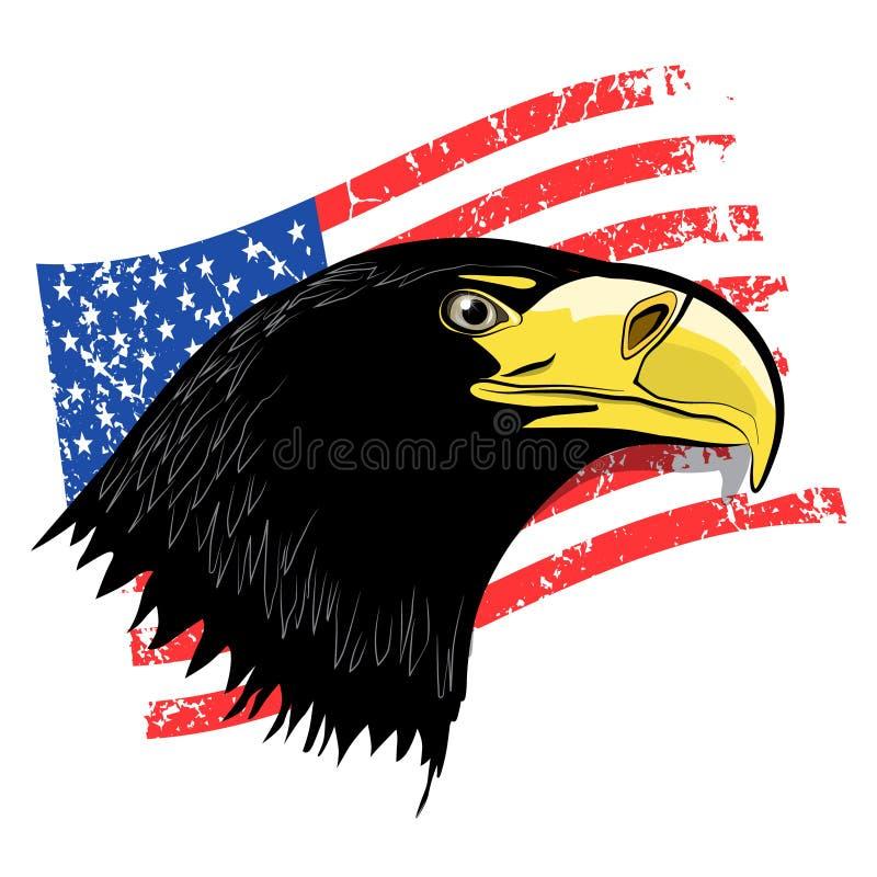 Eagle Head with Grunge American Flag. Vector USA Symbol vector illustration