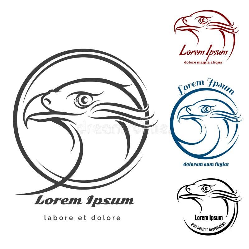 Eagle Head Logo Set royaltyfri illustrationer