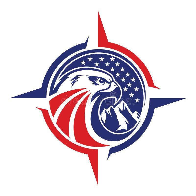 Eagle head logomallen, hökmaskotdiagrammet, stående av en skallig örn, stock illustrationer