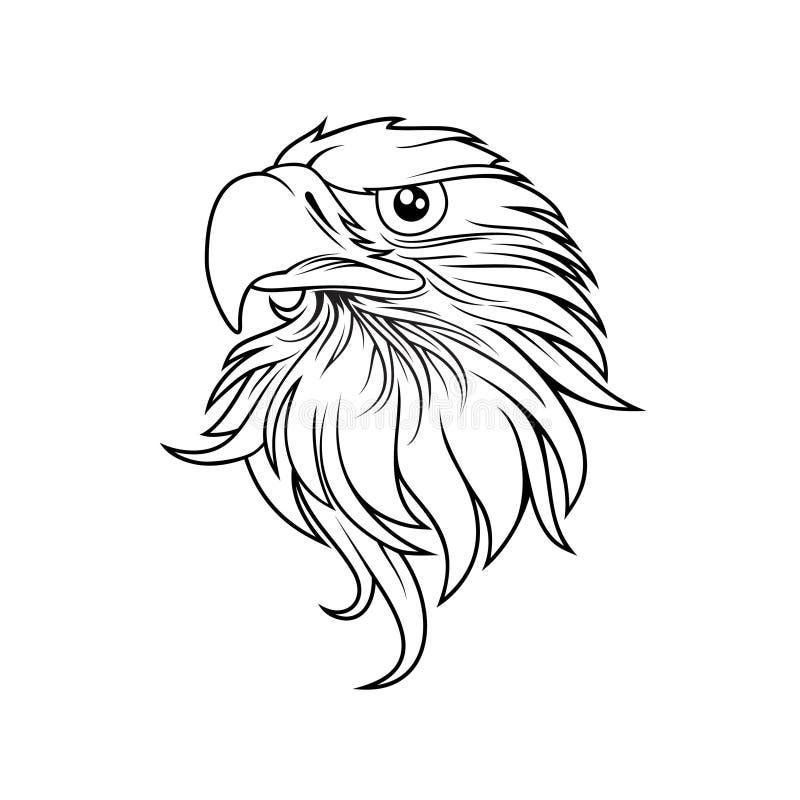 Eagle head logomallen, hökmaskotdiagrammet, stående av en skallig örn royaltyfri illustrationer