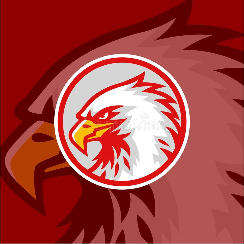 Eagle Head with Red Background Logo Vector Design, Sign, Icon, Illustration vector illustration