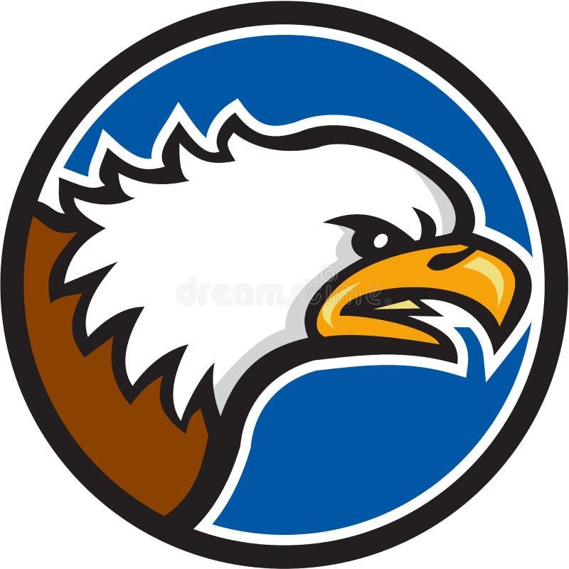 Eagle Head Screaming Circle Retro calvo ilustração stock