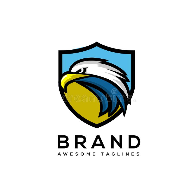 Eagle head with shield logo Template stock illustration