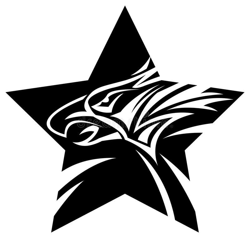 Eagle head with star. Line art black and white eagle head with star image vector illustration